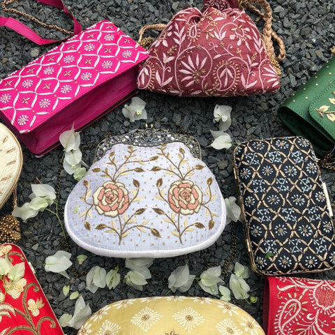 Lucknow Chikankari & Zardozi Hand Embroidered Potli Bags, Spectacle Cases, Clutches & Wallets by Shaurya