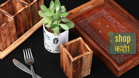 Handcarved Natural Neem Wooden Trays & Spoon-Knife Kitchen Stands