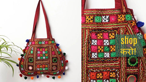 Kutchi Embroidery Mirror Work Shoulder Bags