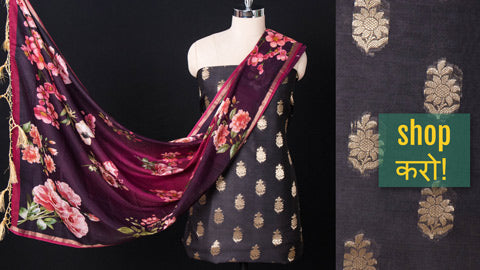 Exclusive! Matching 2pc & 3pc Suit Materials in Chanderi, Muga Tussar Silk & Silk Cotton