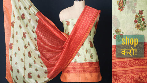 Matching Suit Materials in Chanderi Silk, Tussar Silk, Muga Silk & Mangalgiri Cotton by Haveli Chronicles