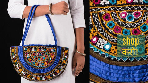 Kutchi Hand Embroidery Mirror Work Clutches, Shoulder & Sling Bags