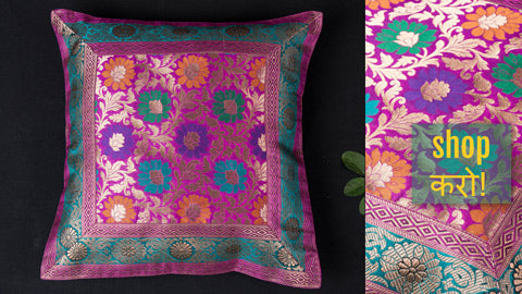 Traditional Pure Banarasi Handwoven Silk Table Runners & Cushion Covers by Maqbul Hasan