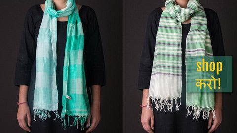 Bengal Handwoven Stoles in Pure Cotton, Silk, Linen, Silk-Cotton, Cotton x Wool & Silk x Wool