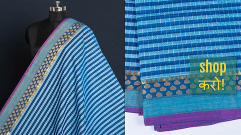 Kanchipuram Cotton Fabrics with Border from Tamil Nadu