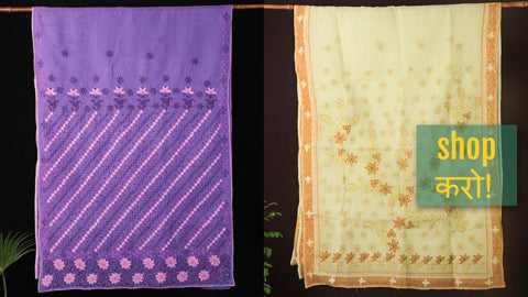 Lucknow Chikankari Hand Embroidered Sarees in Kota Doria, Georgette & Cotton
