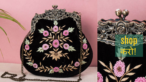 Lucknow Chikankari & Zardozi Hand Embroidered Potli Bags, Clutches, Multipurpose Boxes & File Folders by Shaurya