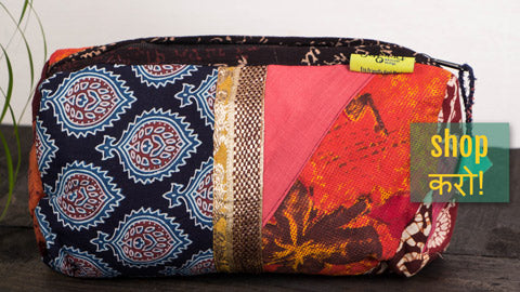 Patchwork Small & Big Travel Pouches, Toilet/Cosmetic Pouches by Jugaad