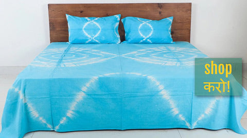 Shibori Tie-Dye Cotton Double Bed Cover Sets