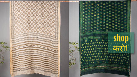 Akola Block Printed Chanderi Silk Sarees with Zari