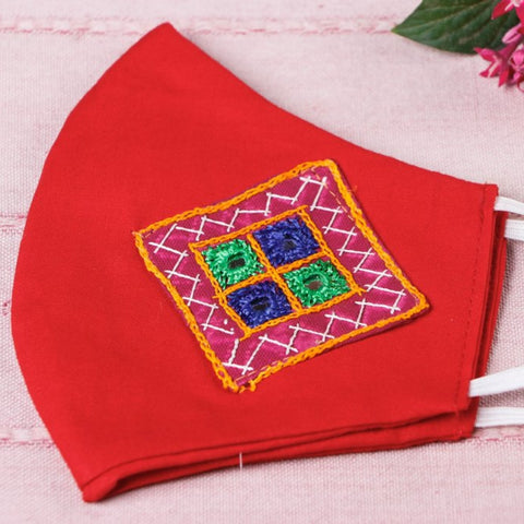 Kutchi Embroidery Patch Cotton 2 Layer Face Covers by Trust Crafts
