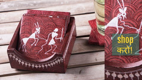 Warli Handpainted Wooden Pen Stands, Jewellery Boxes & Coasters by Sanjay Ravate