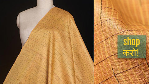 Self Checks n Stripes Vidarbha Tussar Silk Cotton Handloom Fabrics