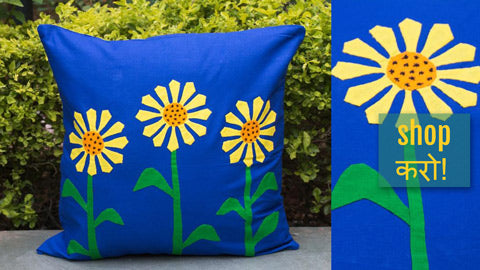 Pipli Applique Work Cotton Cushion Covers from Orissa