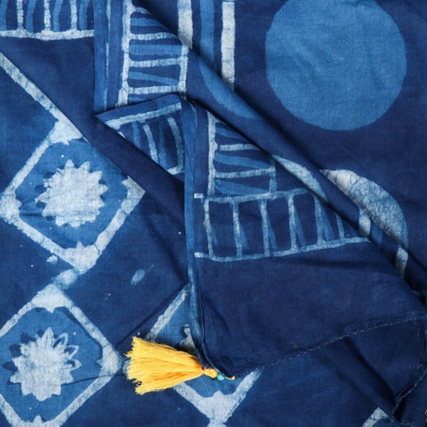 Double Dabu Print Indigo & Kashish Dye Cotton Saree from Tarapur by Vinay Jhariya