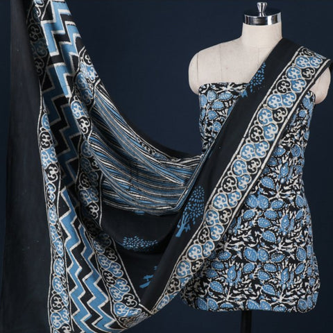 Traditional Pipad Block Print Cotton 3pc Suit Material Sets by Chhipa Azhar