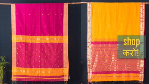 Traditional Poona Silk & Cotton Zari Sarees