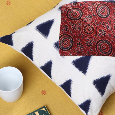 Noori Ikat & Modal Silk Block Print Cotton Cushion Covers