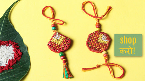 Hand Embroidered Beadwork Rakhis by Kamli of Namrata Primary Rajasthan