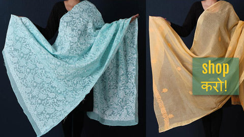 Chikankari Hand Embroidered Dupattas in Kota Doria & Cotton