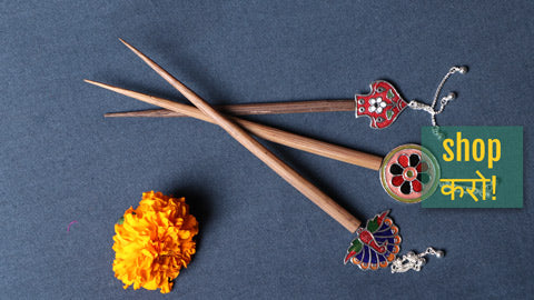 Handcrafted Paka Meenakari Juda Sticks by Sukhomoy Mukherjee