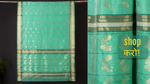 Finest Pure Handloom Mercerised Cotton & Chanderi Silk Zari Buti Sarees by Rauph Khan