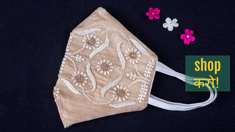 Special Chikankari & Zardozi Hand Embroidered Face Masks by Shaurya