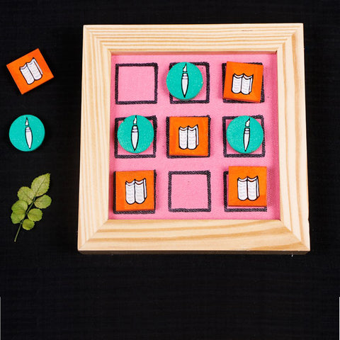 Miniature Handpainted Wooden Magnetic Tic Tac Toe, 9 Blocks Paintings & Fridge Magnets by Rajesh & Monali