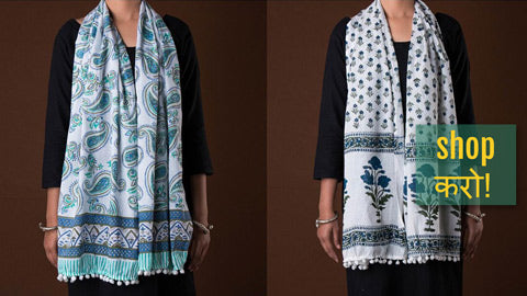 Hand Block Printed & Shibori Tie-Dye Soft Cotton Stoles with Pom Pom