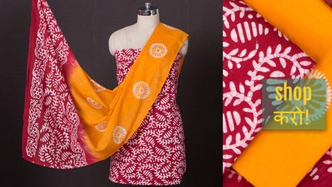 3pc Block Printed & Shibori Suit Material Sets in Cotton & Kota Doria