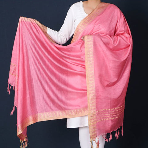 New! Mulberry Silk Handloom Dupattas with Tassels by Ruisa
