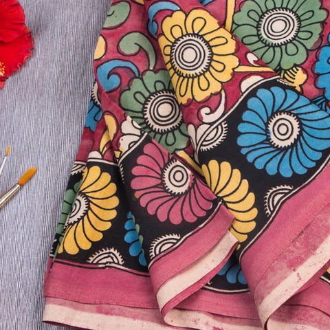 Handpainted & Block Printed Kalamkari Fabrics in Chanderi Silk & Cotton