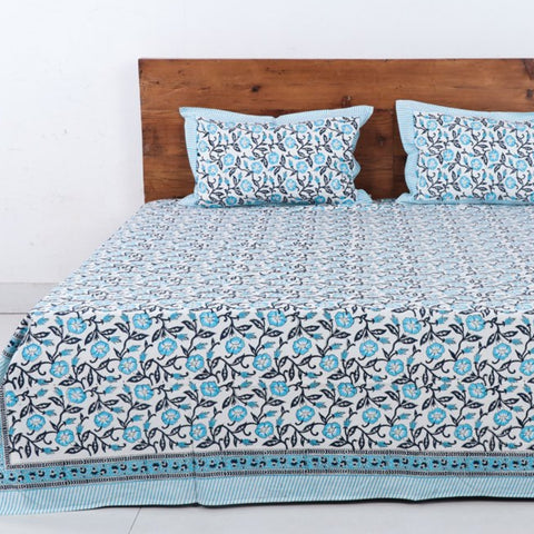 Sanganeri, Bagru & Jahota Block Printed Cotton Double Bed Covers by Uttam Nagar