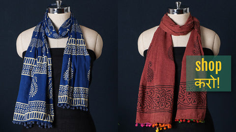 Sanganeri Block Printed Soft Cotton Stoles with Pom Pom