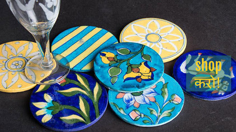 Original Blue Pottery Ceramic Hot Plates, Coasters, Wall Hangers & Napkin Stands by Anil Doraya