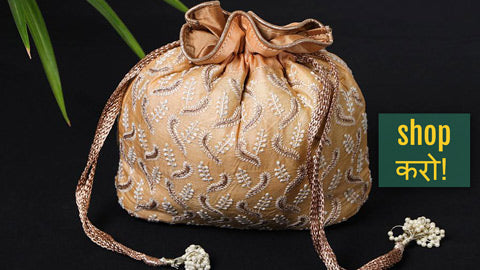 Lucknow Chikankari Hand Embroidered Potlis & Clutch Bags by Shaurya