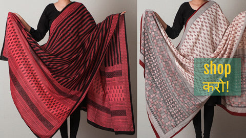 Bagh Block Printed Natural Dyed Pure Cotton Dupattas by Bilal Khatri
