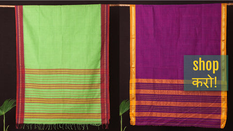Traditional Narayanpet Handloom Cotton Sarees with Temple Border