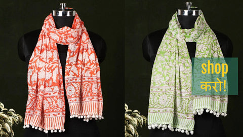 New Stock! Sanganeri Block Printed Soft Cotton Stoles