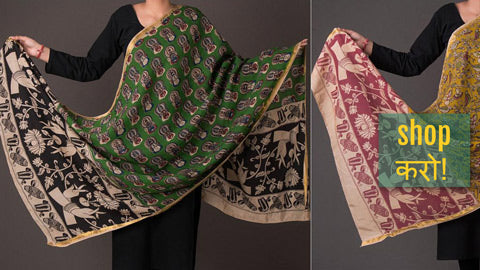 Kalamkari Printed Silk Cotton Dupattas from Machlipatnam
