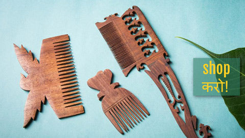Hand Carved Sheesham Wood Combs from Rajasthan