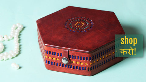 Handcrafted Kutch Leather Jewelry Boxes with Mirror