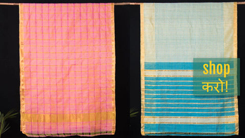 Original Mangalgiri Silk Cotton Zari Woven Handloom Sarees by Lakshman Rao from Andhra Pradesh