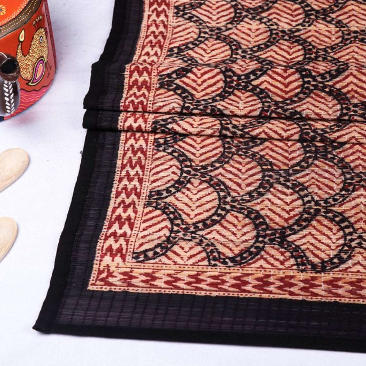 Special Natural Bamboo Bagh Block Printed Table Runners by Bilal Yusuf Khatri