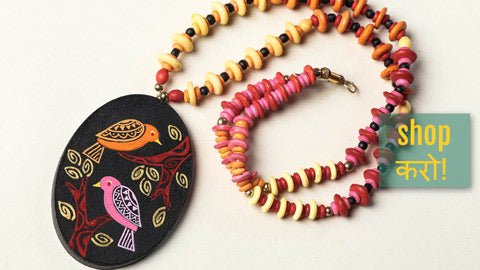 Miniature Hand-painted Wooden Necklaces & Terracotta Earrings by Rajesh & Monali