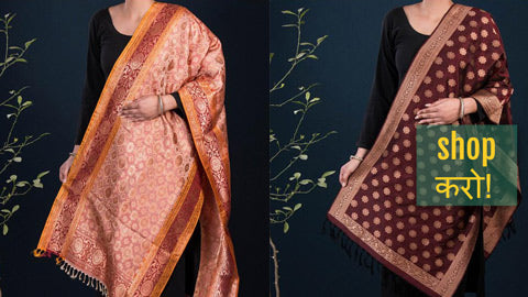Exclusive! Pure Banarasi Handwoven Silk Stoles by Maqbul Hasan
