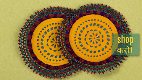 Handcrafted Kutch Leather Bead Work Coasters