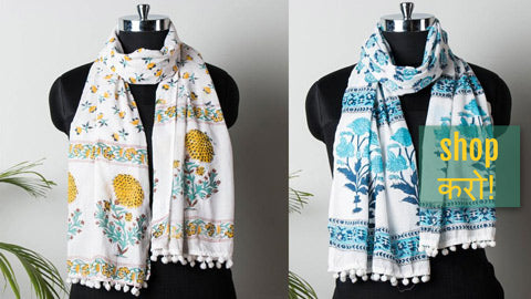 Sanganeri Soft Cotton Block Printed Stoles with Pom Pom