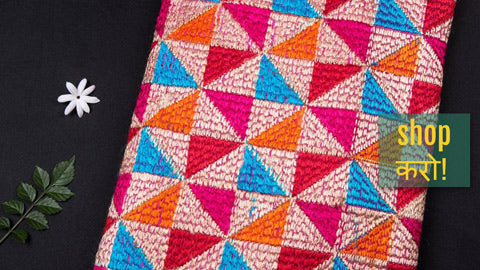 Traditional Phulkari Embroidered Chinnon Fabrics from Punjab