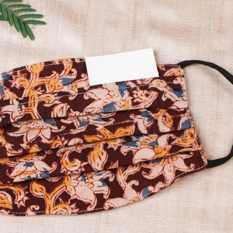 Kalamkari Print Cotton Fabric Pleated Face Covers